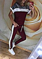 """Женский костюм """"Люрекс лето"""". Размер 42 44 46 48. Ткань трикотаж + вставка люрекса. Цвет бордо, серый, черный"""