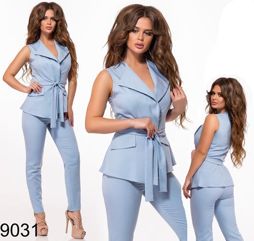 Стильный брючный костюм + жилетка с поясом (голубой) 829031