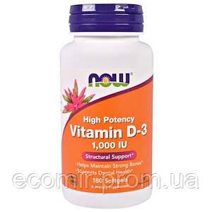Витамин Д3, Now Foods (1000 МЕ / 180 капсул)