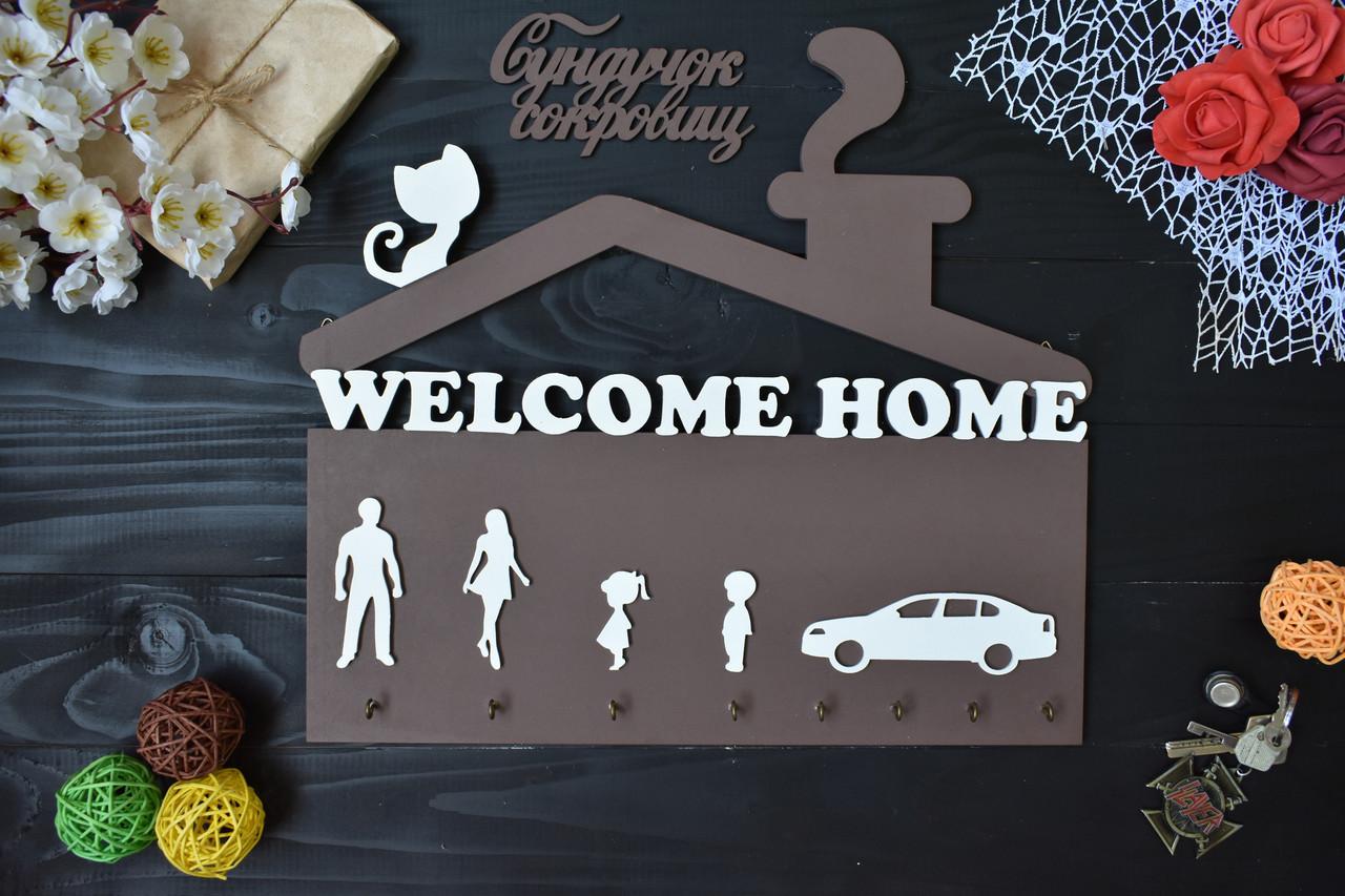 "Ключница ""Welcome home"" силуэты (на выбор) с котом на крыше"