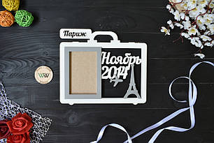"""Фоторамка из дерева """"Париж"""" на 1 фото, для фото с отпуска, любая страна"""