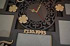 Большой фотоколлаж из дерева с часами на юбилей родителям, на годовщину свадьбы, мультирамка из дерева, фото 3