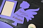 """Фоторамка из дерева """"Ангелок с гравировкой"""" крестной доченьке на 1 фото, фото 2"""