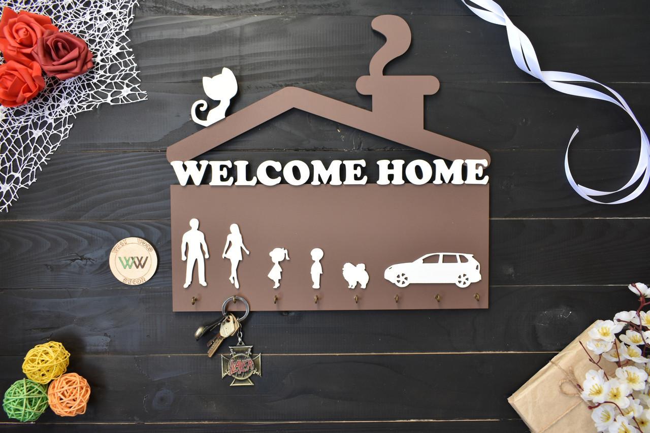 Ключница Welcome Home с силуэтами