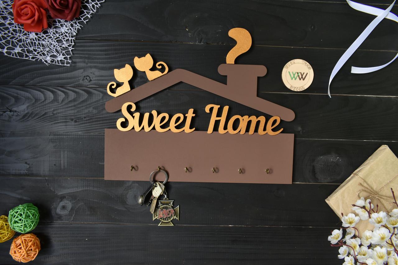 Ключница Sweet Home домиком с котами на крыше