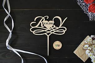 Топпер свадебный с инициалами и датой, на свадебный торт