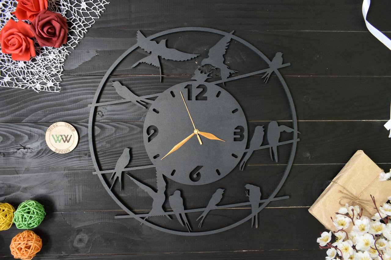 """Часы настенные """"Ласточки"""" , часы с птичками, часы из дерева"""