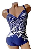 Купальник слитный женский  размеры 52 - 54  Marina синий с принтом белый