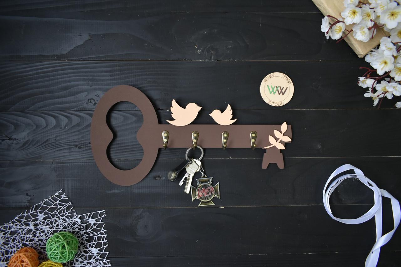 """Мини ключница из дерева """"Ключик"""" с птичками"""