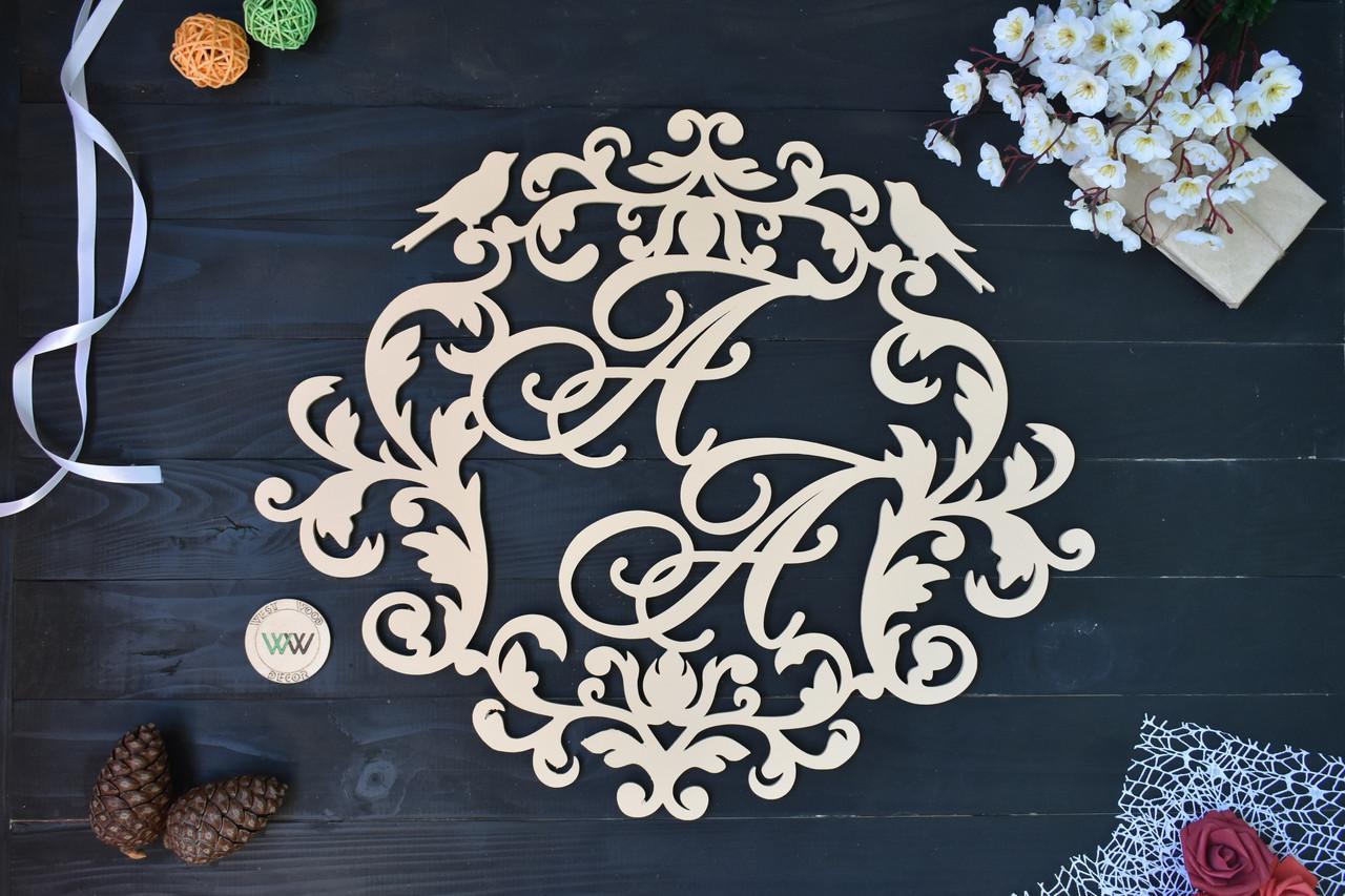 Свадебный герб с птичками, вензель, монограмма на свадьбу с инициалами
