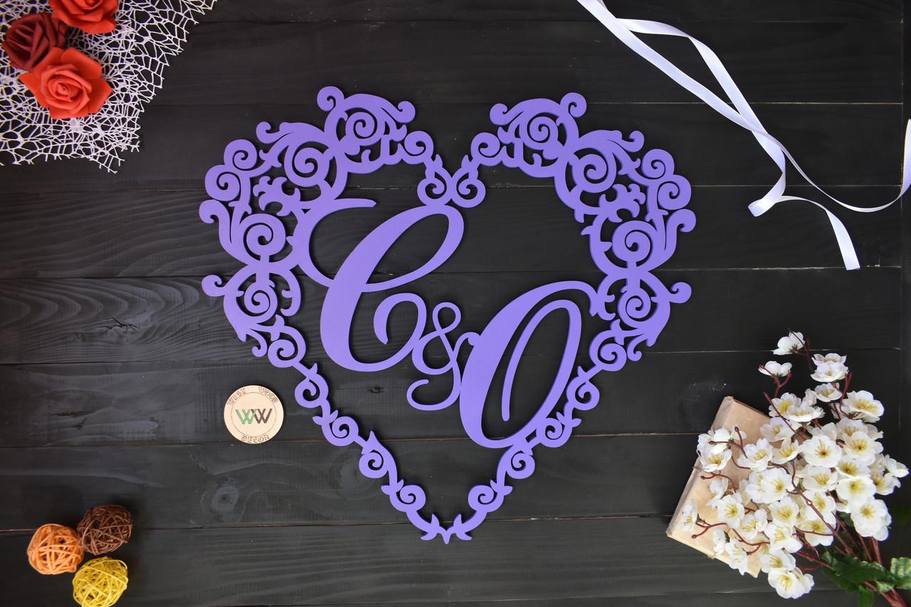 Свадебный герб в виде сердца, монограмма с инициалами, вензель, весільна монограма, герб из дерева на свадьбу.