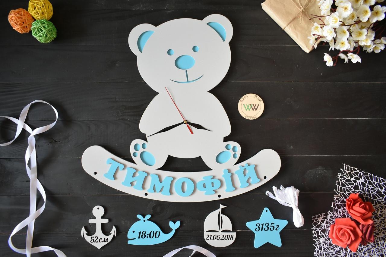 Детская метрика из дерева в виде мишки с часами (рабочие) и данными малыша. Тимофей(любое имя)