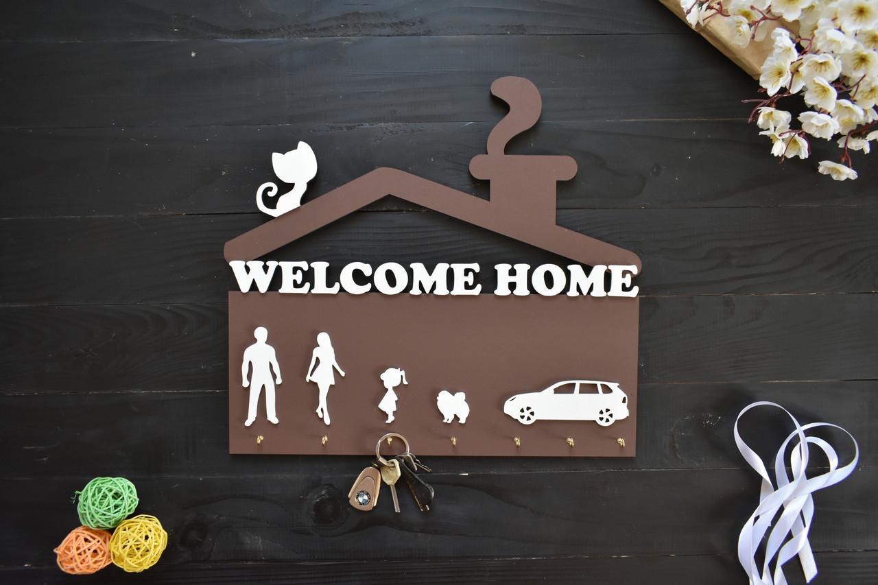 Ключница из дерева Welcome home с силуэтами на выбор, шпиц