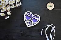 Блюдце для колец, подставка для колец из дерева, ажурная, резная, для свадебной церемонии (сердце)