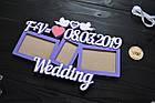 Свадебная фоторамка из дерева с инициалами и датой, wedding, фоторамка на весілля, подарок молодым, фото 2