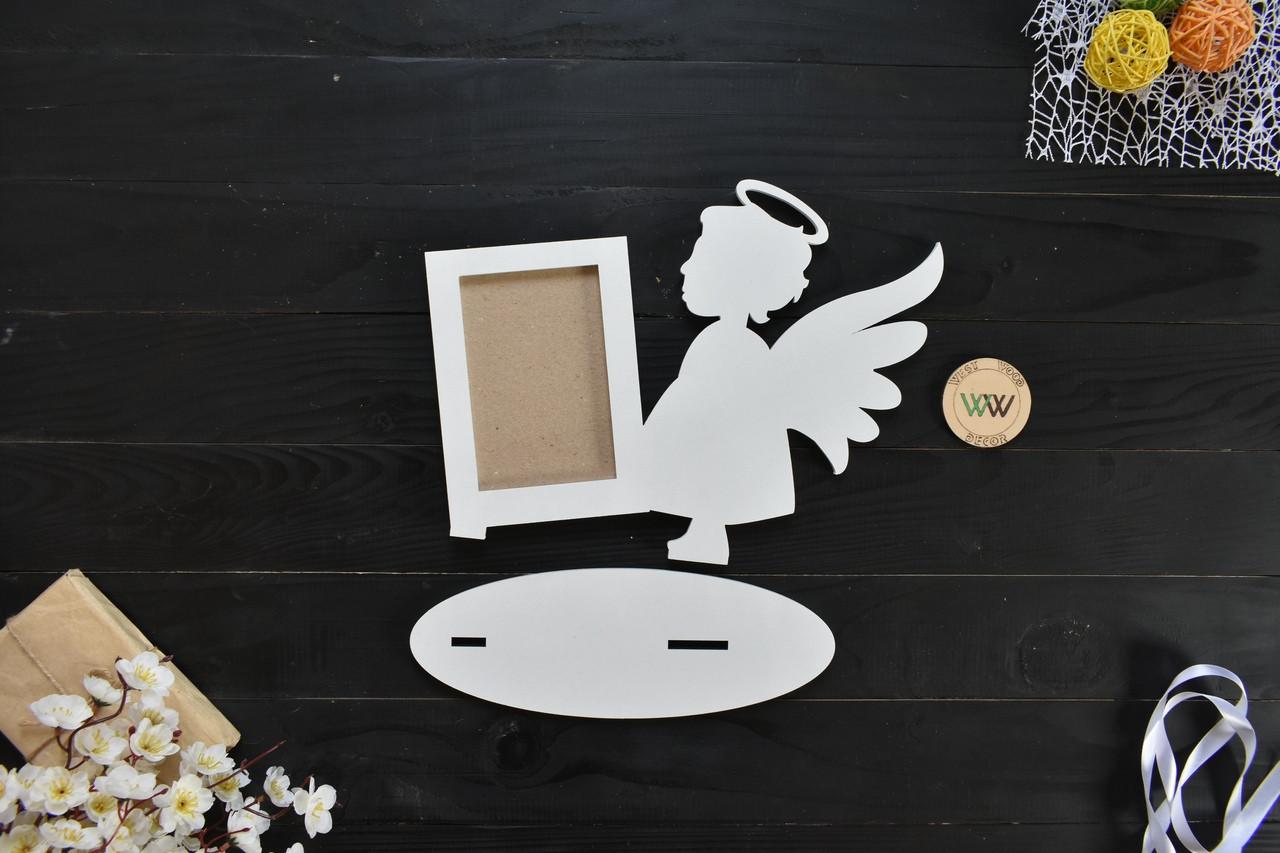 Детская фоторамка из дерева в виде ангела, фоторамка ангел на подставке, дитяча фоторамка янгол