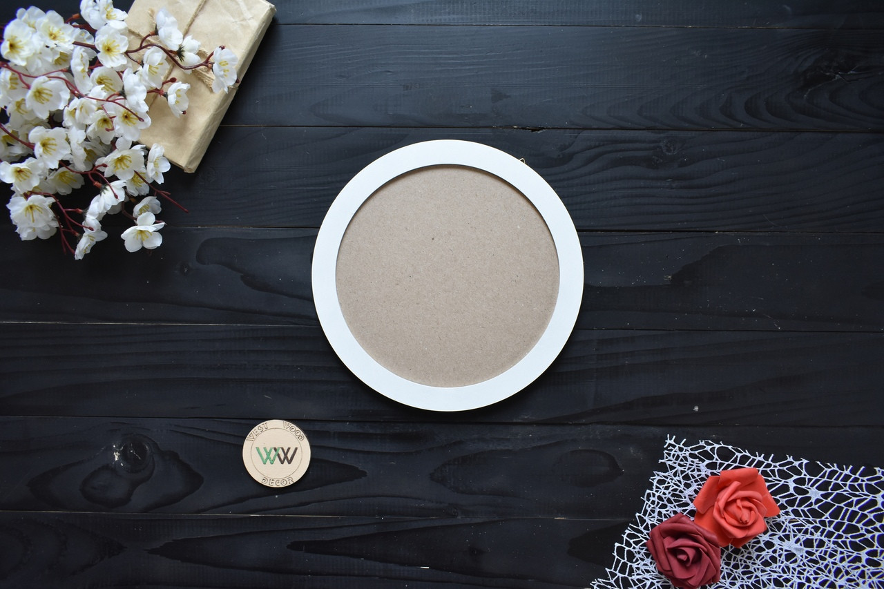 Кругла фоторамка з дерева 20х20 см для складовою настінної композиції, панно, декору стін (будь-який колір)