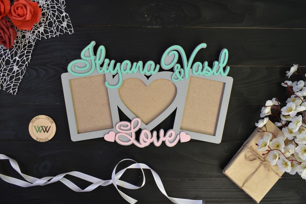 Фоторамка из дерева с именами LOVE, подарок любимой,любимому,мужу,жене,14 февраля,годовщина свадьбы,кохання