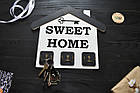 Ключница семейная в виде домика SWEET HOME, вешалка для ключей, ключниця, в прихожую, декор для дома, ключик, фото 3