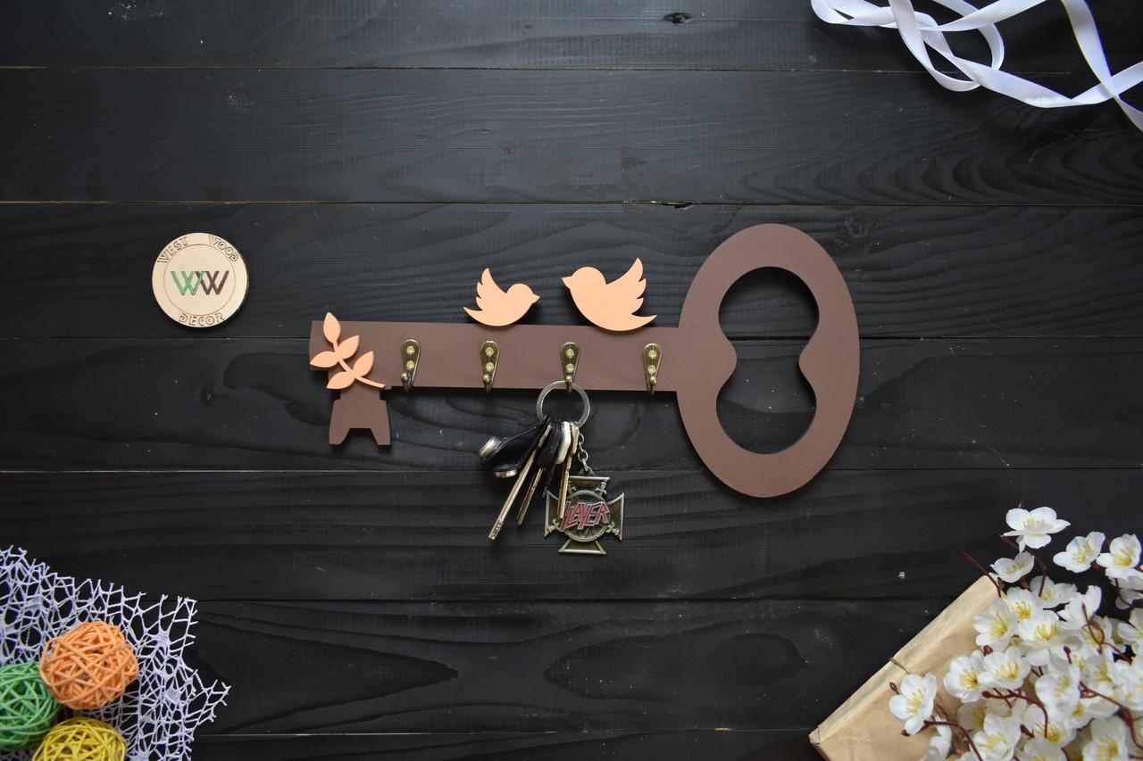 """Ключниця із дерева """"ключик"""" з гачками для ключів, вішка для ключів, дерев'яна ключниця"""