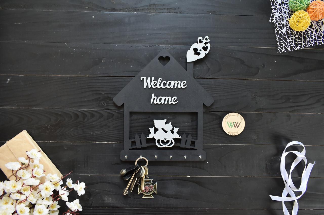 Ключница из дерева семейная, Welcome home, домик с котиками, крючки для ключей, деревянная ключница