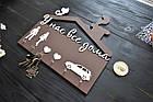 """Ключница семейная с силуэтами для молодой семьи, """"У нас все дома"""", деревянные ключницы, фото 2"""