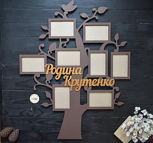 Дерев'яна фоторамка сімейне дерево сім'я/родина з прізвищем на 8 фото, у вигляді дерева, дерево, мультирамка