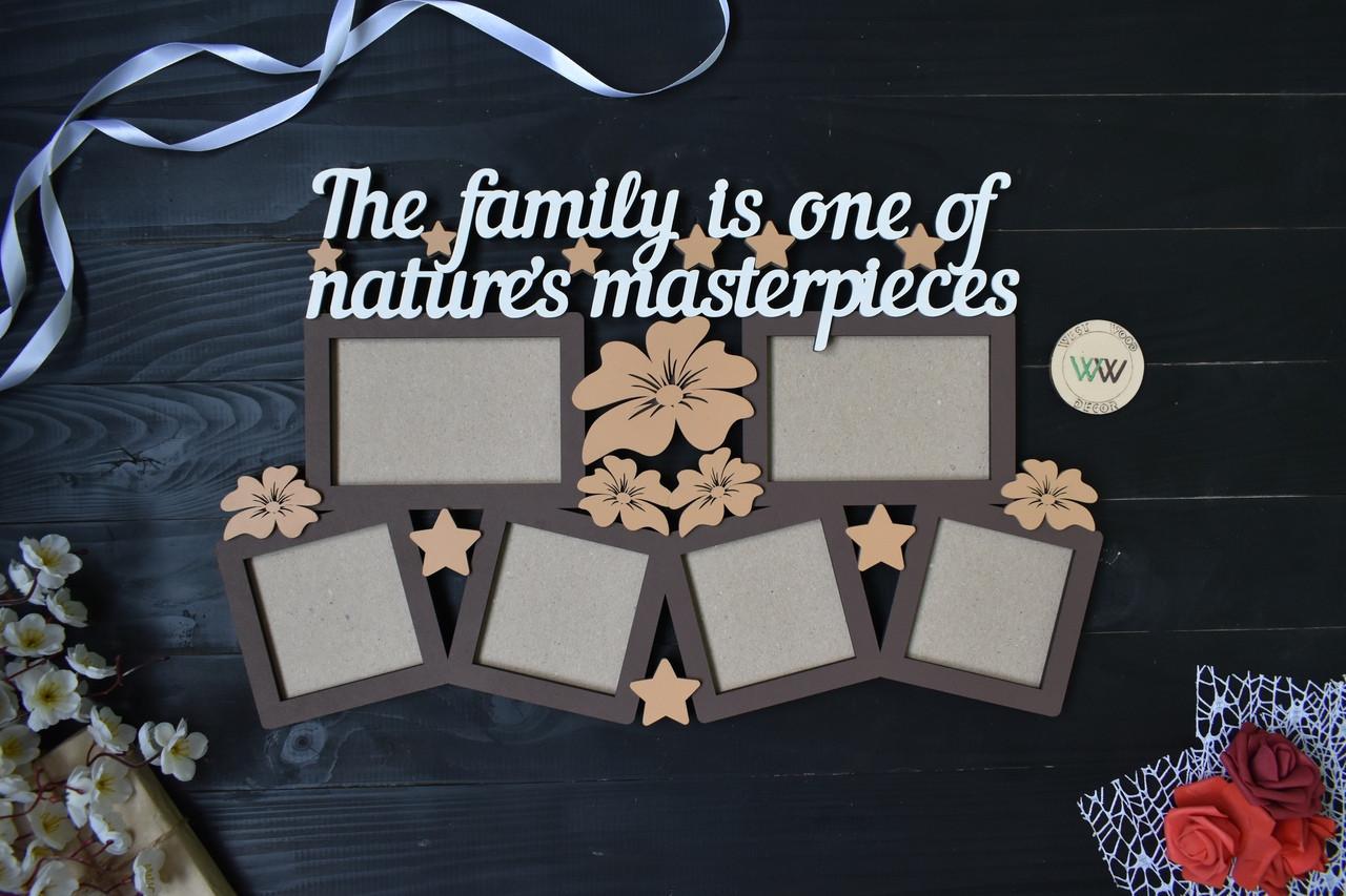 """Деревянная семейная фоторамка """"The family is..."""" Семья это... на 6 фото с цветочками"""
