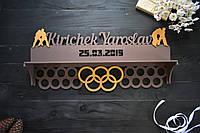 Медальница кольцами с полкой для кубков, с именем и фамилией и датой, холдер, вешалка, борьба, дзюдо.