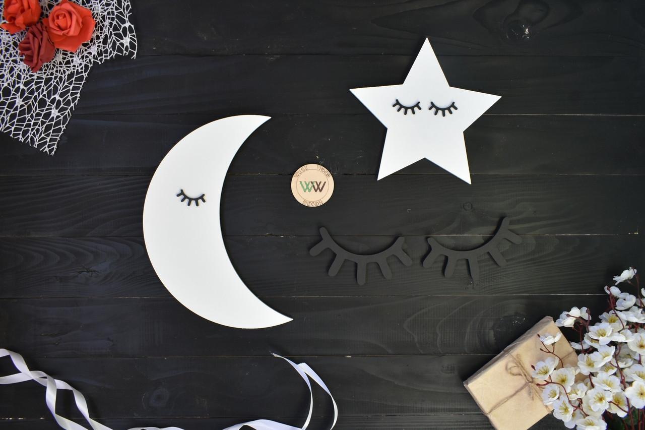 Настенная композиция в детскую комнату над кроваткой, месяц и звезды