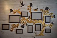 Настенная композиция фамильное древо, 1.5метра!  Фотоколлаж в виде дерева, фоторамки из дерева, панно на стену