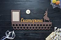 Именная медальница кольцами с фоторамкой, танцы, бальные танцы, балет, девочке (Любой спорт)