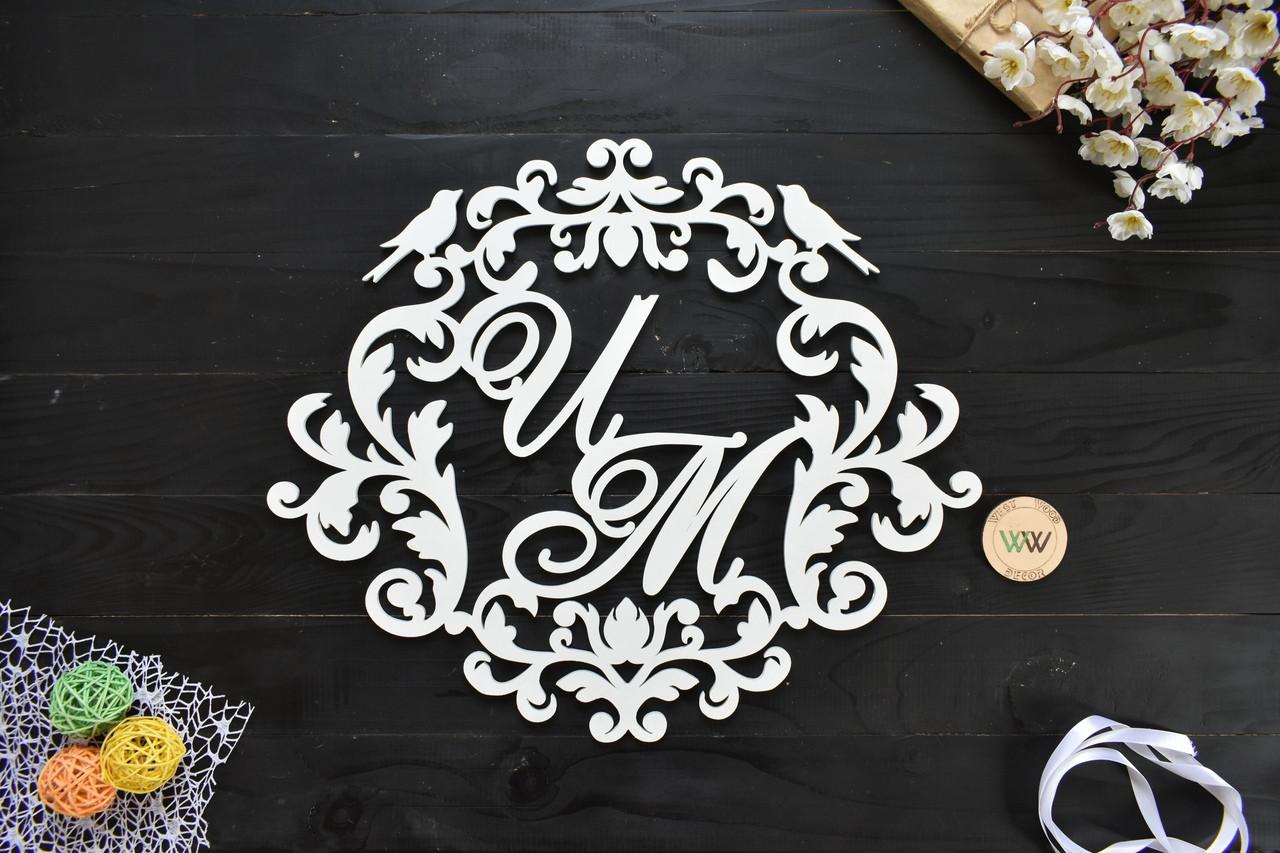 Свадебный герб, монограмма, герб семьи, с инициалами, на свадьбу,буквы имен (для украшения фотозоны или ширмы)