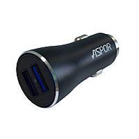 Автомобильное зарядное устройство АЗУ Aspor A918 2USB/3.4A Metal- черный