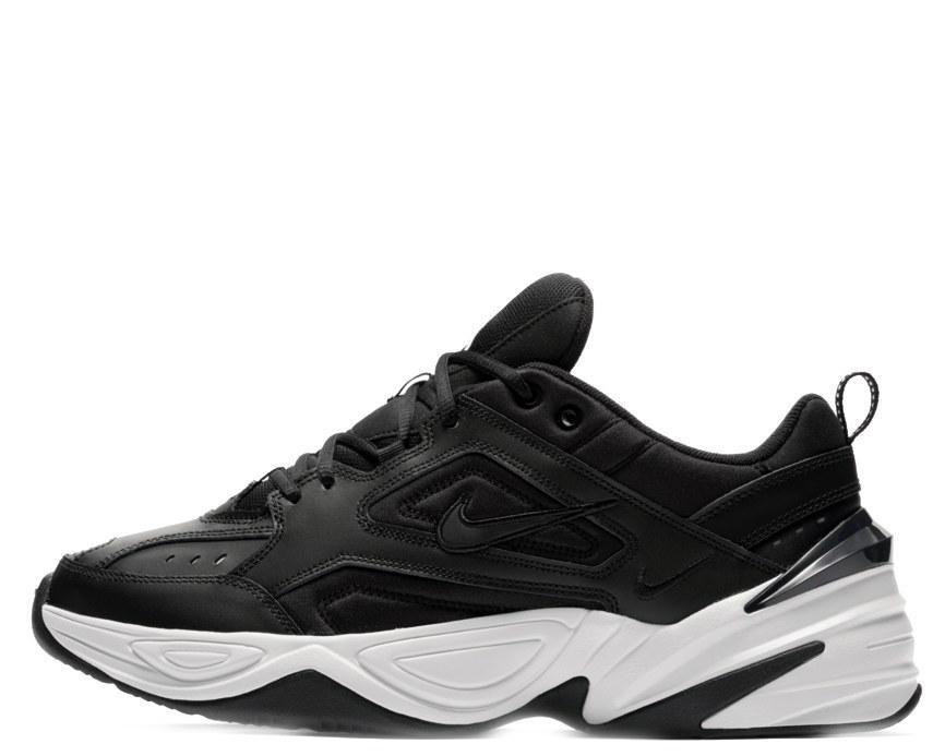 Кроссовки Найк M2K текно черные демисезонные кожа (реплика) Nike M2K Tekno Black/White