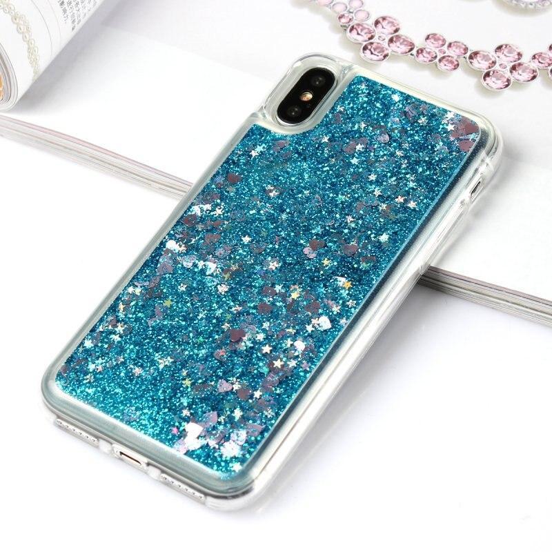 Чехол Glitter для Iphone XS Бампер Жидкий блеск синий