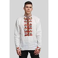 Мужская вышитая белая рубашка вышиванка White 3