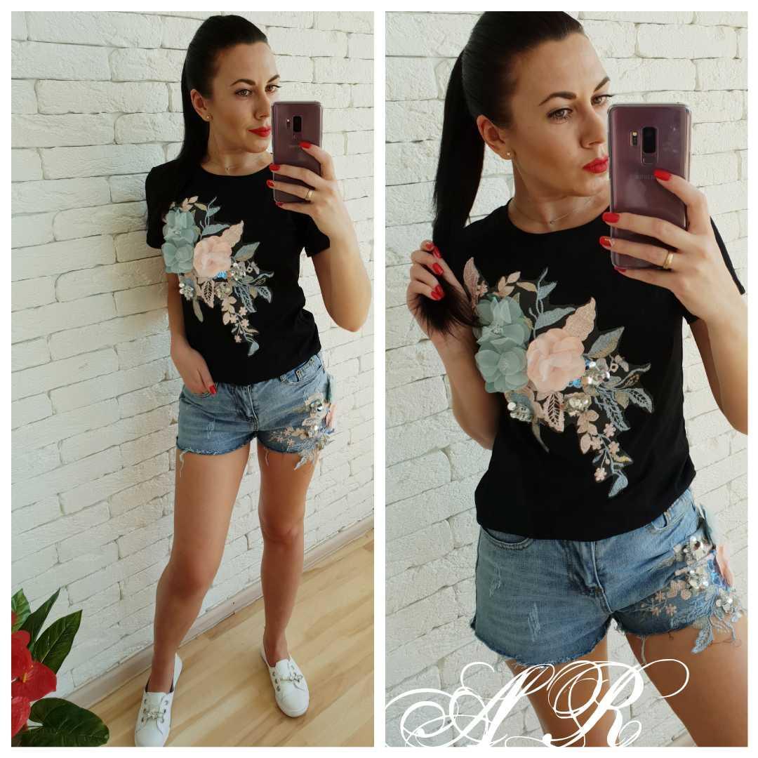 Костюм джинсові шорти і футболка бавовна із квітами