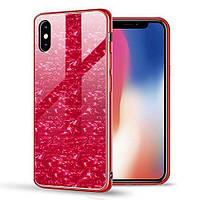 Чехол Marble для Iphone XS бампер мраморный оригинальный Red
