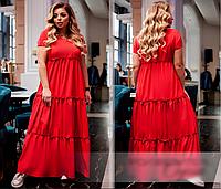 Летнее яркое платье красное, с 50-60 размер, фото 1