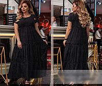 Летнее платье в горох, с 50-60 размер, фото 1