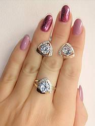 Серебряный набор украшений - кольцо и серьги