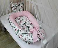 Кокон - гнездышко для новорожденного (двухсторонее) внутрений размер 70х45см и подушка