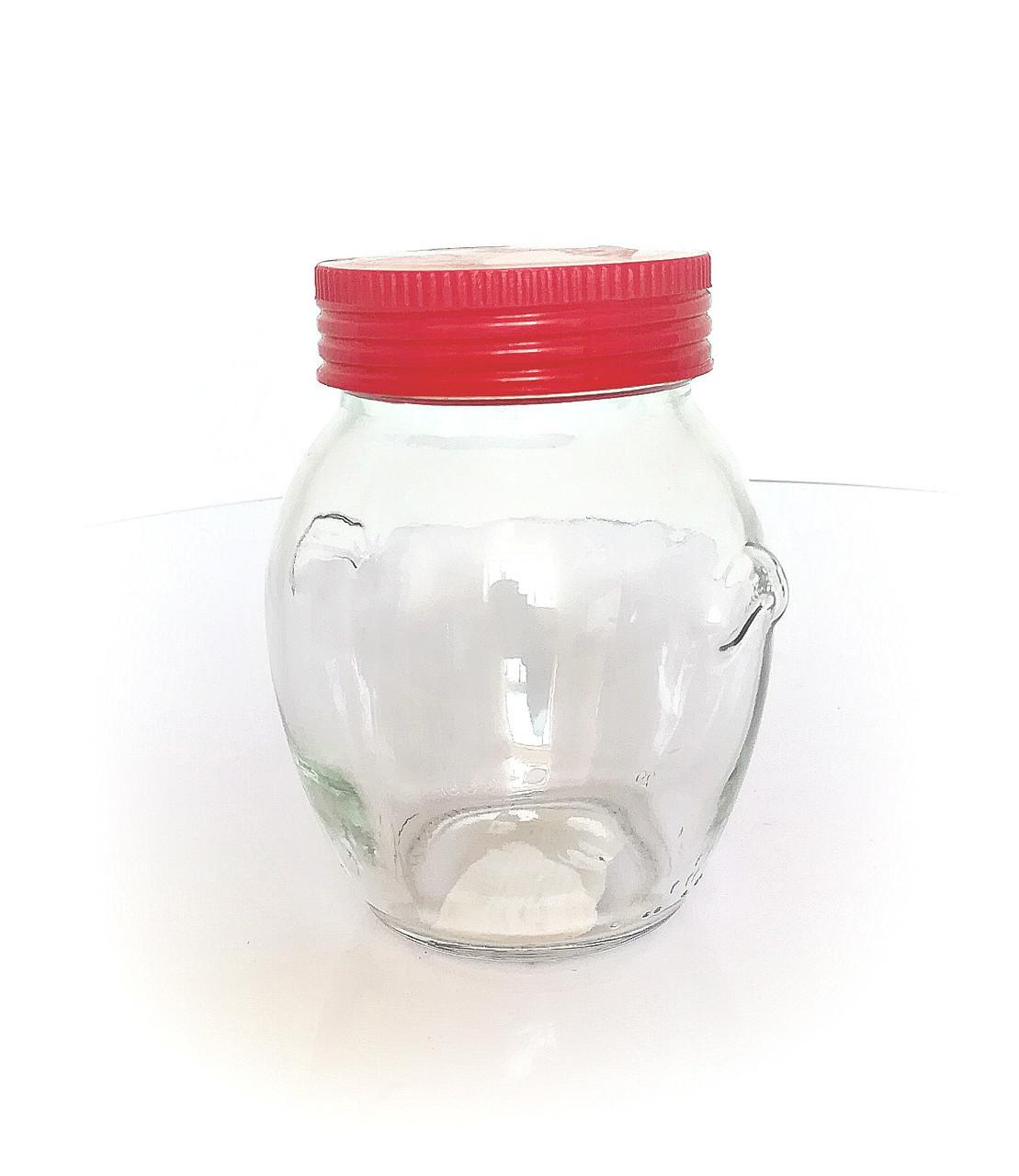 Банка стеклянная 350 мл для сыпучих с красной пластиковой крышкой Италия Everglass