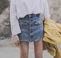 Женская джинсовая юбка-шорты с пуговицами спереди