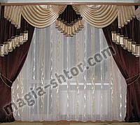 Ламбрекен и шторы на карниз 3 метра, фото 1