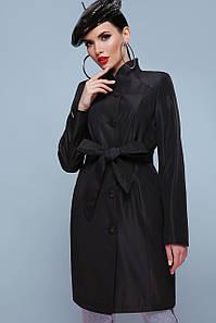 Элегантный женский черный демисезонный плащ до колен с поясом Плащ 207
