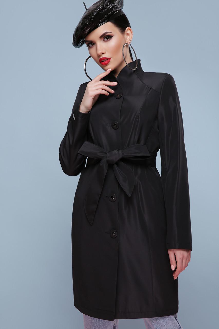 Элегантный женский короткий черный демисезонный плащ до колен с поясом Плащ 329