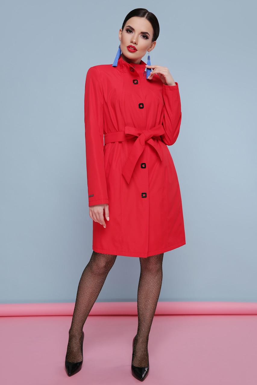 Элегантный женский красный демисезонный плащ до колен с поясом Плащ 328