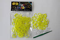 100 штук  в виде сердце ярко жёлтых резиночек для плетения Loom Bands